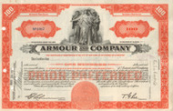 Armour and Company stock certificate - orange