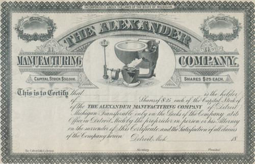 Alexander Manufacturing Company stock certificate 1880's