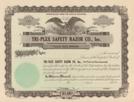Tri-Plex Safety Razor Co. stock certificate circa 1922