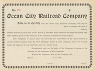 Ocean City Railroad Company stock certificate