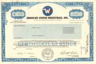 Wheeled Coach Industries stock certificate 1983