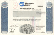 Westcoast Energy Inc. stock certificate 1996