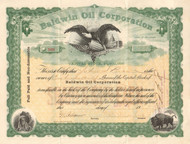 Baldwin Oil Corporation stock certificate 1923