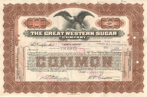 Great Western Sugar Company stock certificate 1936
