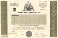 Barnett Banks of Florida stock certificate 1980's