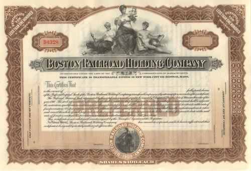 Boston Railroad Holding Company stock certificate circa 1909