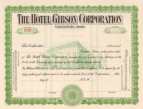 Hotel Gibson Company stock certificate circa 1914