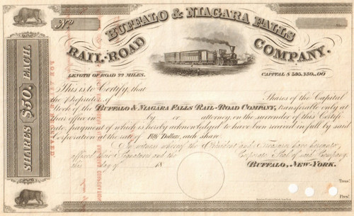 Buffalo and Niagara Falls Railroad Company stock certificate circa 1850