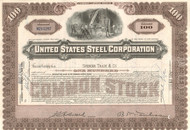 United States Steel Corporation stock certificate 1940's - brown