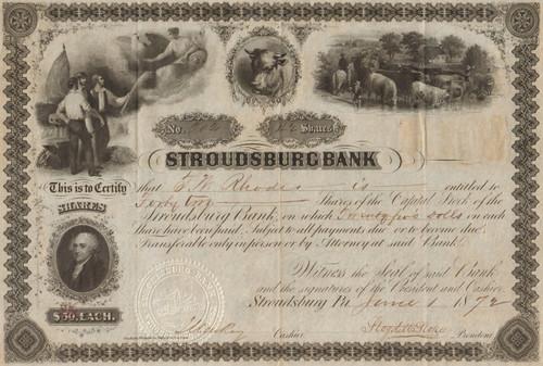 Stroudsburg  Bank (PA) stock certificate 1872 - stunning engravings