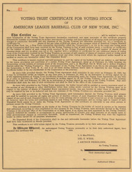 Voting Trust Certificate - New York Yankees 1945