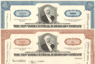 New York Central Railroad Company stock certificate - set of two colors