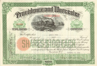 Providence and Worcester Railroad Company stock certificate 1939