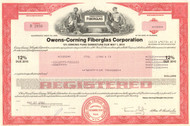 Owens-Corning Fiberglas Corporation bond certificate 1970's - red