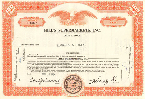 Hill's Supermarket stock certificate 1964