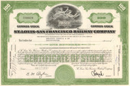 St Louis - San Francisco Railway Company (Frisco) stock certificate 1960's green