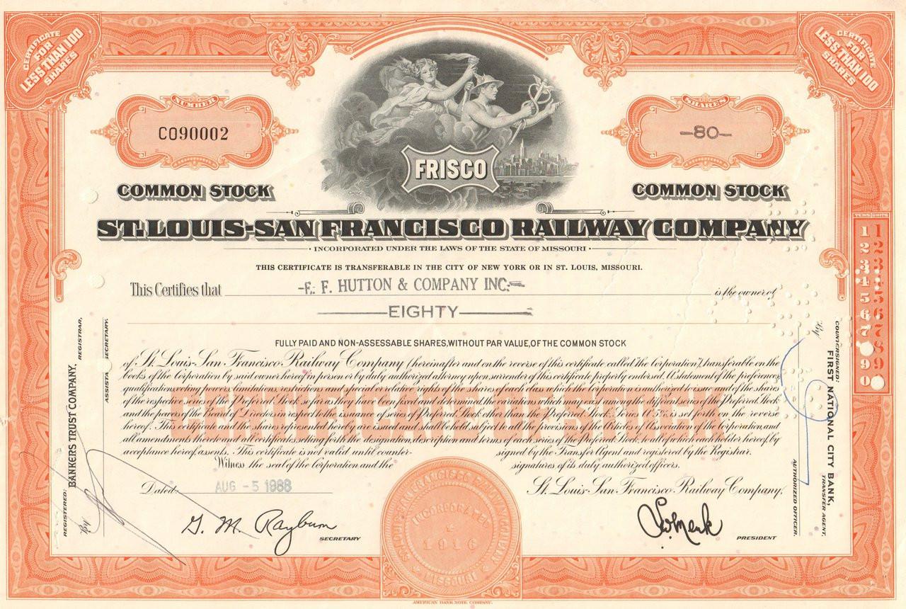 Kansas City Fort Scott /& Memphis Railway /> Kansas railroad stock certificate