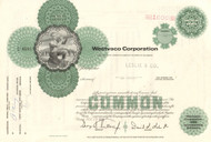 Westvaco Corporation stock certificate 1970s (paper products) -green