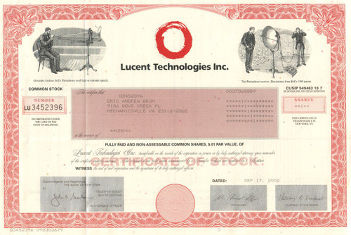 Lucent Technologies stock certificate 2002