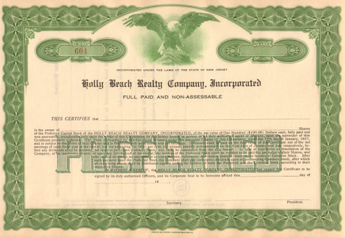 Holly Beach Realty Company stock certificate 1960's
