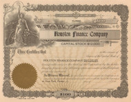 Houston Finance Company stock certificate - 1929