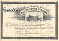 Cedar Falls Manufacturing Company stock certificate 1890's (Asheboro North Carolina)