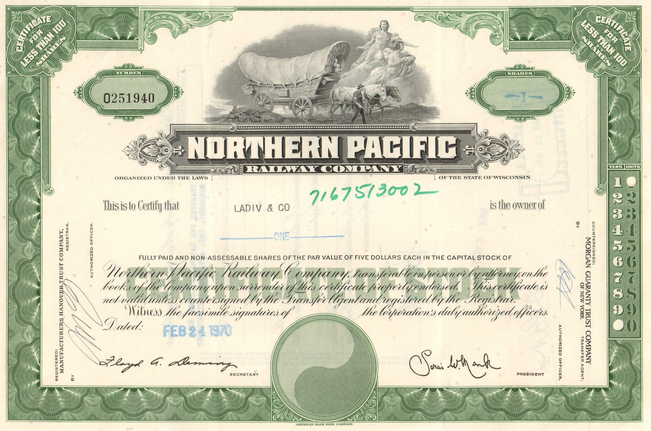 Northern Pacific Railway Company 1970's stock certificate Pacific Railway Company