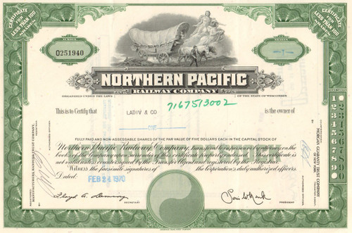 Northern Pacific Railway Company stock  certificate circa 1970's