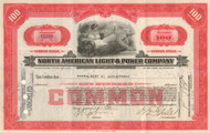 North American Light & Power Company stock certificate 1940's