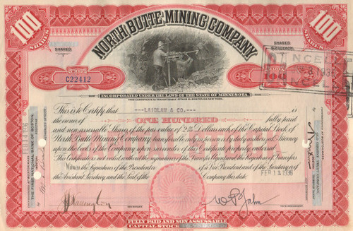 North Butte Mining Company stock certificate 1930's - red