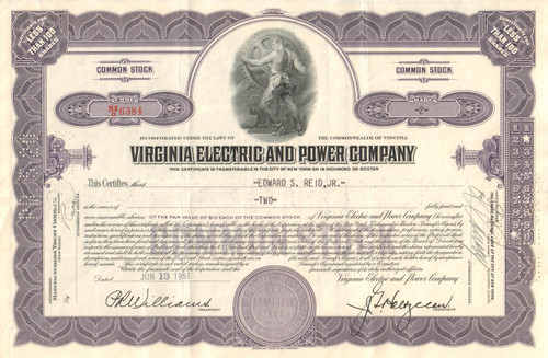 Virginia Electric and Power Company stock certificate 1950's (VEPCO) - purple
