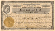 First National Bank of Ramsey, New Jersey stock certificate 1923