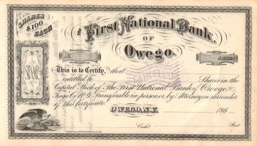 First National Bank Owego (NY) stock certificate circa 1865