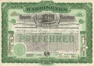 Washington Railway and Electric Company stock certificate 1905 (DC streetcars)