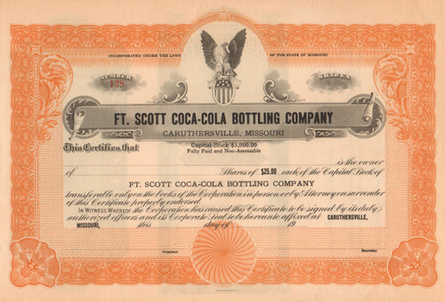 Ft Scott Coca-Cola Bottling Company stock certificate circa 1922