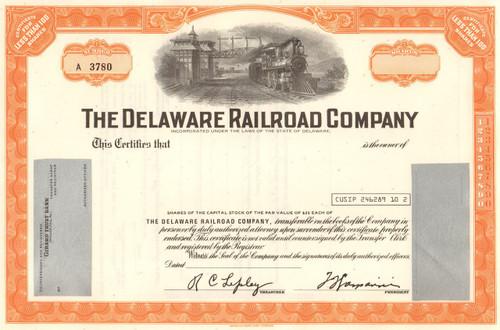 Delaware Railroad Company stock certificate circa 1960's