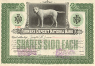 Farmers Deposit National Bank stock certificate 1919 (Pittsburg, PA)