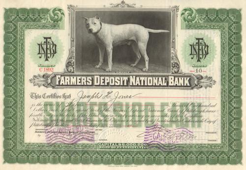 Farmers Deposit National Bank stock certificate 1919 (Pittsburg, PA)