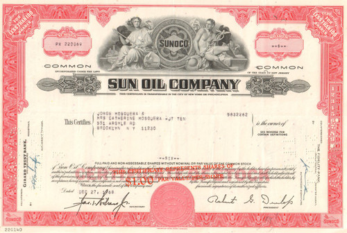 Sun Oil Company stock certificate 1970's - red