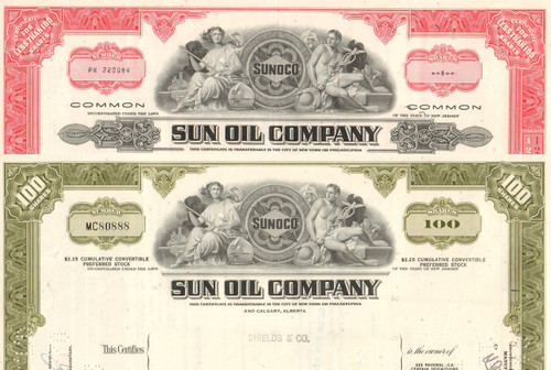 Sun Oil Company stock certificate 1970's - set of 2 colors