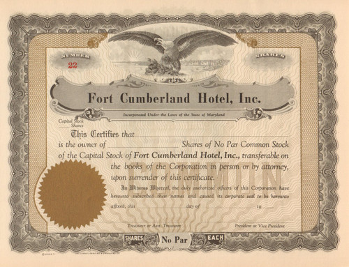 Fort Cumberland (MD) Hotel  stock certificate circa 1917