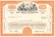 Pet Milk Company stock certificate circa 1965 - orange