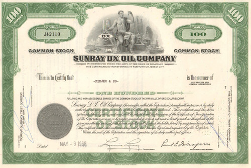 Sunray DX Oil Company stock certificate 1960's