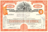 Sunray Mid-Continent Oil Company stock certificate 1955 - orange