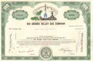 Rio Grande Valley Gas Company stock certificate circa 1960's - green