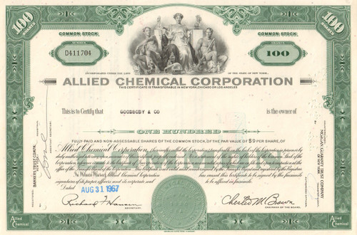 Allied Chemical Corporation stock certificate 1960's - green
