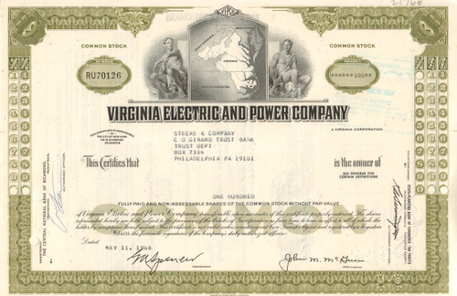 Virginia Electric and Power Company stock certificate - olive