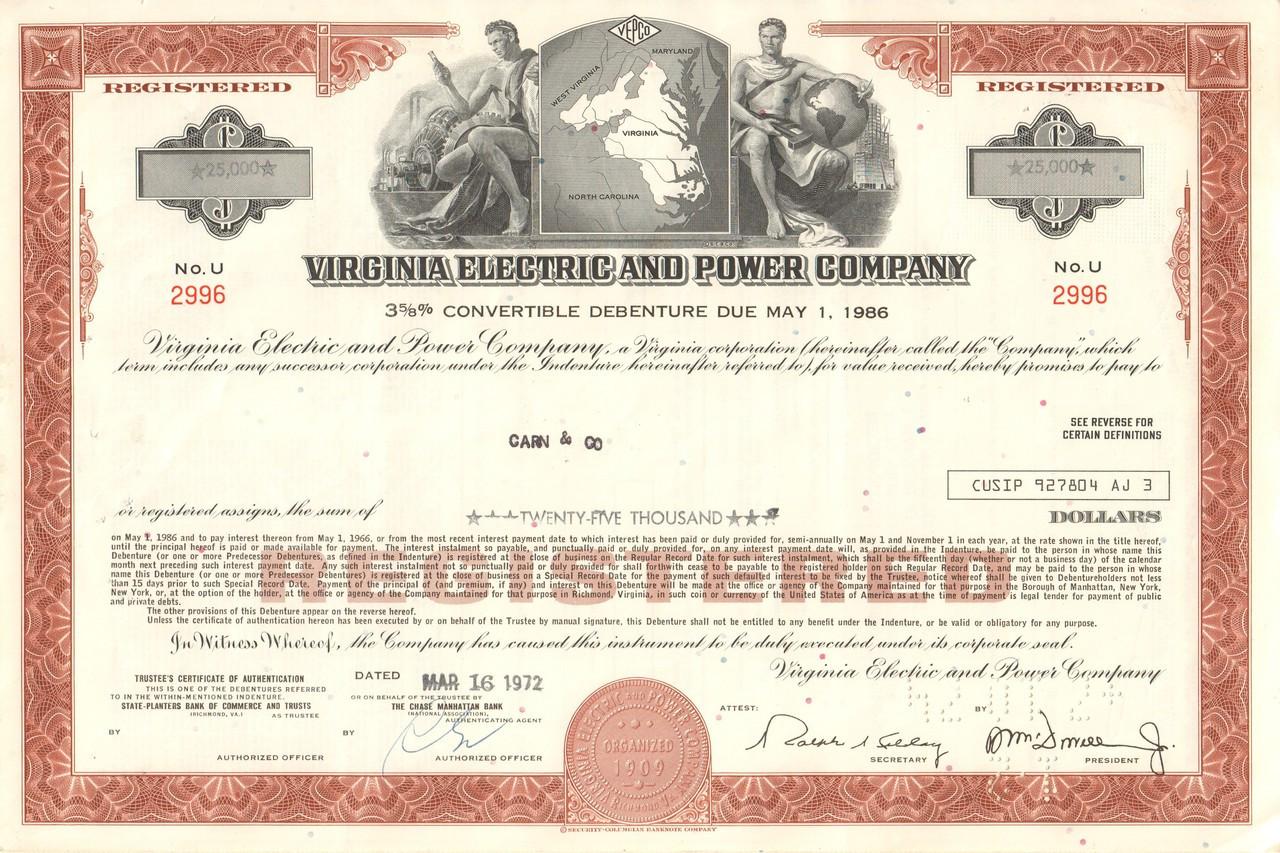 Appalachian Electric Power Company Stock Certificate