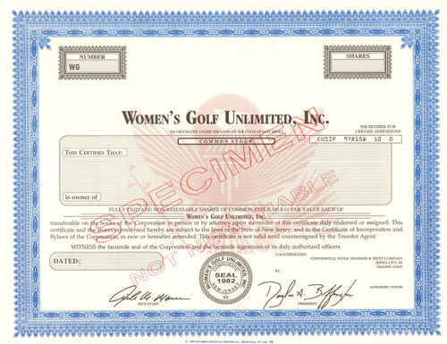 Women's Golf Unlimited Inc. stock certificate specimen