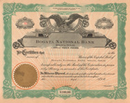 Bogata National Bank stock certificate circa 1914